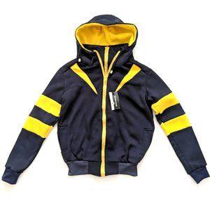NWT Navy Yellow Fleece Full Zipper Hoodie